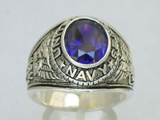 Navy United Stated Military Sterling Silver Purple February Men Ring Size 14