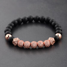 Lava Beads Cubic Zircon Balls Bracelets 2018 Men's Luxurious Rose Gold 8Mm Matte