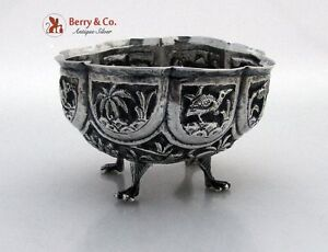 Indian Paneled Repousse Bowl Elephant Tigers Deer Palm Trees Native Huts 900 Sta