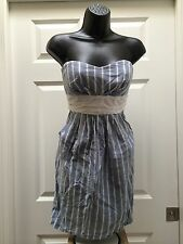 My Michelle Tube style strapless Dress Sz 9 blue and white tulip bust tie back