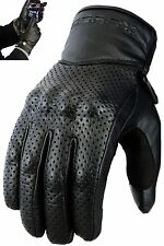 Vented Leather Motorbike Motorcycle Gloves Knuckle Shell Protection L