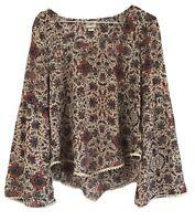 Daytrip Top Boho Hippie Bell Sleeve Shirt Floral Blouse Stretch Lace Sz XS