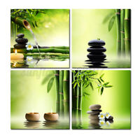 4pcs Wall Art Canvas Prints Stone Green Bamboo Home Decors Pictures No Frame A