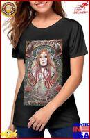 Tori Amos Women Short Sleeve Pattern Tops Round Neck T Shirts Tops Black