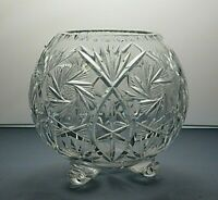 "LEAD CRYSTAL CUT GLASS FLOWER FOOTED ROSE BOWL - 3 1/2"" TALL"