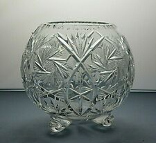 """LEAD CRYSTAL CUT GLASS FLOWER FOOTED ROSE BOWL - 3 1/2"""" TALL"""