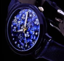 Excellanc Damen Armband Uhr Blumen Blau Gold Farben Strass L70