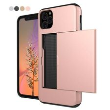Slide Armor Wallet Card Slots Holder Phone Case Cover for iPhone 11 11 Pro Max