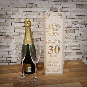 Personalised Wooden Wine Bottle Gift Box ~ Flourish ~ Laser Engraved