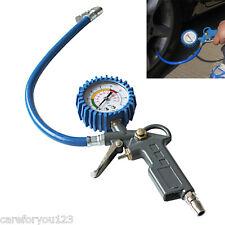 220PSI Self-locking Pistol Grip Trigger Tire Inflator Tyre Pressure Gauge #Cu3