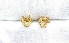 14Kt Yellow Gold 5mm Heart Prenotched Earring Gemstone Gem Stone Mounting