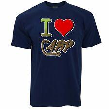 Fishing T Shirt I Love Carp Slogan Heart Sports River Freshwater Fish Dad