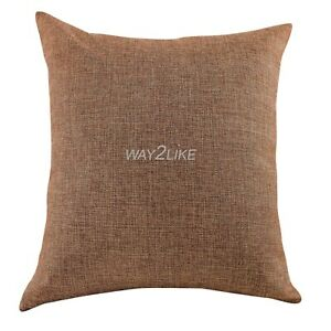 Jute Cushion Cover Decorative Pillowcase for Couch Sofa Chair Bedroom Pack of 2