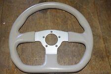"""Beige Boat Marine Steering Wheel 3-Poke w/Aluminum 2-1/8 Center Bore 13-1/2"""" W"""