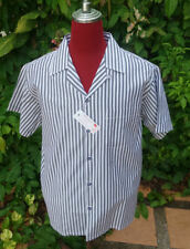 Men's Rockabilly Bowling Vintage 1950's Style Candy stripe Grey shirt loop Med