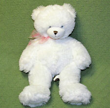 "First Main TEDDY BEAR 16"" White Plush Stuffed SOFT Pink Bow DENA Animal Toy 1786"