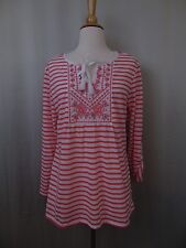 Style & Co Petite Stripe Print Embroidered Peasant Top Size PL #2455