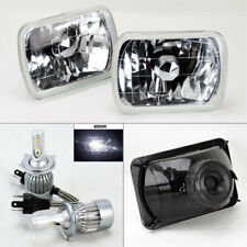 "7X6"" Clear Glass Headlight Conversion w/ 6000K 36W LED H4 Bulbs Pair RH LH Plym"
