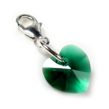 Small Emerald Green Crystal Heart Clip Charm Solid Silver Clasp - High Quality