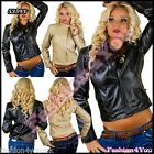 Biker Jacket Sexy Women's Ladies Black Cream Leather Look Jacket Size 8,10,12 UK