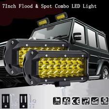 Good 144W LED Light Bar Flood Spot Work Off Road Driving Lamp Yellow Cover  #D