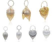 Crystal Diamante Heart/Ball Shape Tassel Wedding Evening Clutch Bag For Women