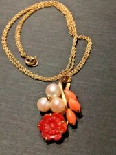 14 KT YELLOW GOLD CARVED CORAL & PEARL PENDANT ON CHAIN NECKLACE
