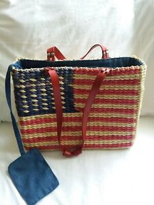 Patriotic 4th of July Straw Zipper Purse Handbag Tote With Zipper Pouch