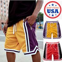 Mens Casual Mesh Shorts Basketball Sports Zipper Pocket Gym Pants Workout Summer