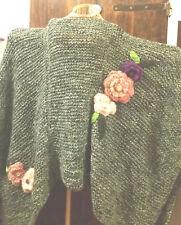 Poncho maxi uncinetto ferri fiori pezzo unico fatto a mano handmade oversize
