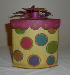 Tin/Metal Triangle Box Pink & asst. w/ Polka Dots Taper Candle Holder Top Stars