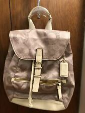 Coach Canvas Backpack with Leather Trim  Light Gold