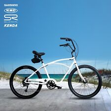 "Beach Cruiser EBike Electric Bike WHITE Shimano 9 Speed Bicycle e-bike Size 18""w"