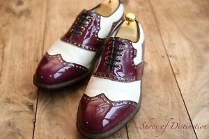 Rare Men's Footjoy Premier Classics Dry White Burgundy Leather Golf Shoes UK 8