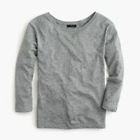 New J Crew Womens Twist Back Shirt Long Sleeve Cotton Heather Gray NWT
