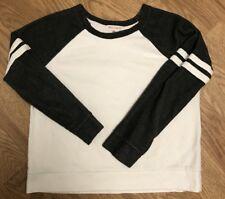 Womens Wish Whim White Gray Long Sleeve Sweater Sz M