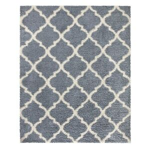 Ultimate Shag Contemporary Moroccan Trellis Design Area Rug Stain/Fade-Resistant