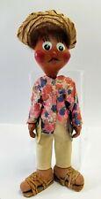 Mexican Oil Cloth Man Doll Vintage Folk Art Musician Souvenir Tin Cymbals Floral