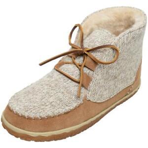 Minnetonka Womens Torrey Tan Knit Bootie Slippers Shoes 9 Medium (B,M) BHFO 1248