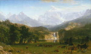 Albert Bierstadt The Rocky Mountains Poster Reproduction Giclee Canvas Print
