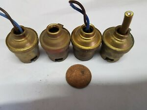 4 x B22 VINTAGE old REAL BRASS BULB HOLDERS Lamp parts quality 1/8 NPS 2 earthed