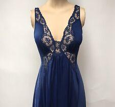 Vtg Olga Bodysilk Blue Gown Full Sweep Nightgown Negligee Lingerie Dress Sz S