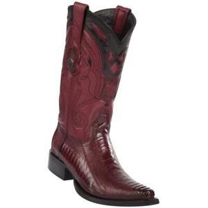 Men's Wild West Genuine Ostrich Leg Snip Toe Western Boots