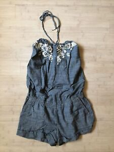 NEW Abercrombie & Fitch Women Embroidered Floral Chambray Halter Romper Jumper S