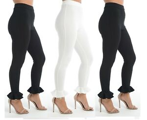 Frill Hem Ladies Womens Straight Leg  Trousers High Waist Black or Ivory 6-14