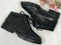 Vintage 90s Black Leather Lace Up Womens Granny Boots Ankle Boot 8 M Chunky Heel