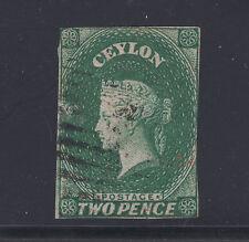Ceylon Sc 4 used. 1857 2p deep green Queen Victoria, imperf