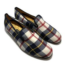 NEW & LINGWOOD MEN'S CHECK FABRIC SMOKING SLIPPERS, 8.5, $685