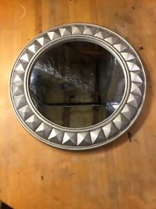 Round Decorative Silver Wall Mirror 18 inch in Very Good Condition
