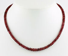 Roter Turmalinkette (Rubellit) Edelsteinkette Rondell Collier Edel Geschenk 45cm